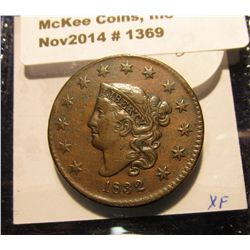 1369. 1832 U.S. Large Cent. EF. Redbook value in AU is $225.00.
