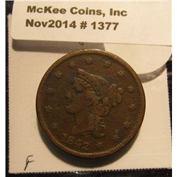 1377. 1842 U.S. Large Cent. Small date. F-12. Red book value $42.00.