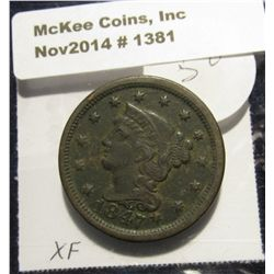 1381. 1847 U.S. Large Cent. EF. Red book value $60.00.