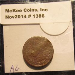 1386. 1867 Indian head Cent. G-4. Book value $50.00.