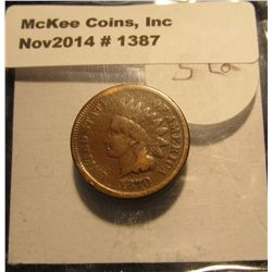 1387. 1870 Indian head Cent. VG. Book value $118.00.