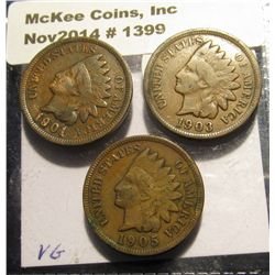 1399. 1901, 03, & 05  Indian Head Cents. VG+.