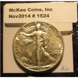 1524. 1940 P Walking Liberty Half Dollar. AU.