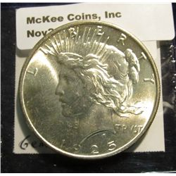1536. 1925 P Peace Silver Dollar. Gem BU. Book value is $51.00.