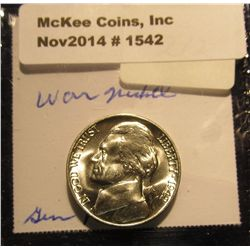 1542. 1942 P U.S. Silver World War II Jefferson Nickel. Gem BU. Book value $20.00.