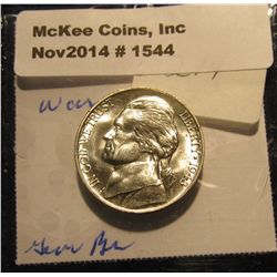 1544. 1943 P U.S. Silver World War II Jefferson Nickel. Gem BU. Full Steps. Book value $100.00.