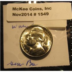 1549. 1944 S U.S. Silver World War II Jefferson Nickel. Gem BU. Book value $20.00.