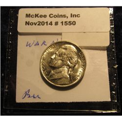 1550. 1945 P U.S. Silver World War II Jefferson Nickel. Gem BU. Book value $28.00.