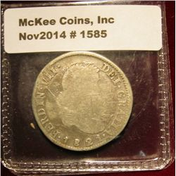 1585. 1821 Mexico War of Independence. R.G. Silver Two Real. This specimen is one of a series minted
