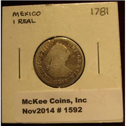 1592. 1781 Colonial Mexico Silver 1 Reales. G-4.
