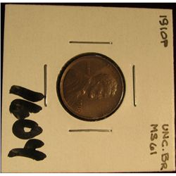 1604. 1910 P Lincoln Cent. Chocolate Brown MS 61.