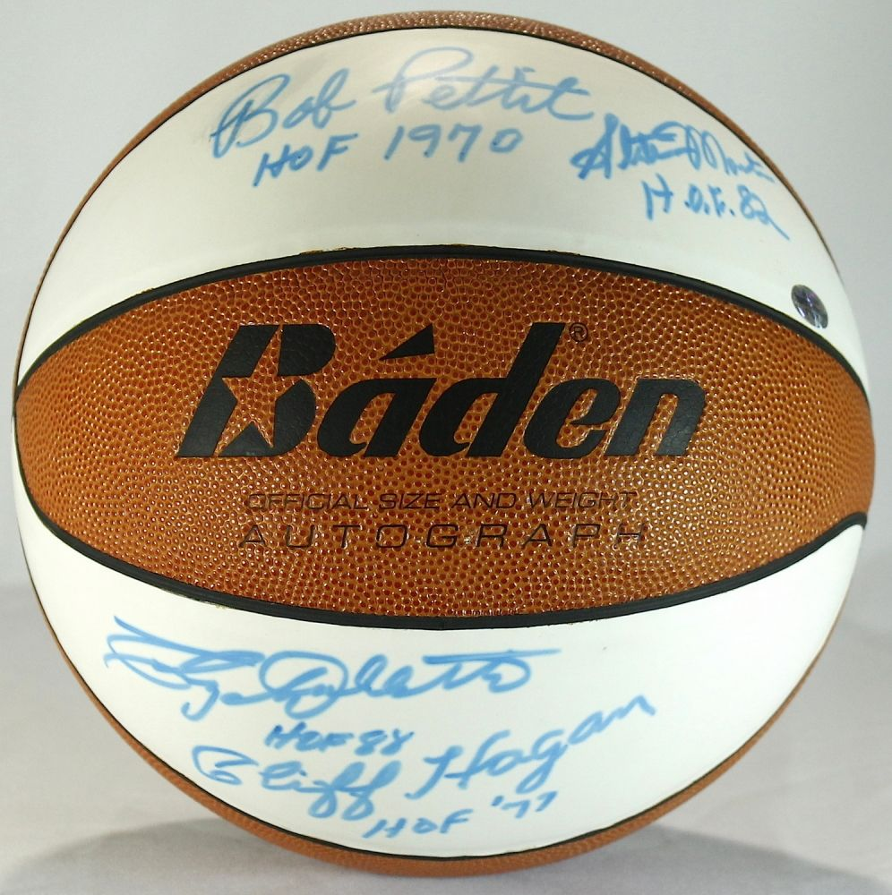 St Louis Hawks HOF Basketball Signed by 4 with Cliff Hagan