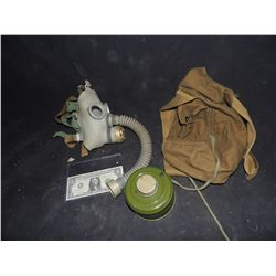 GAS MASK WITH BAG VINTAGE USED IN UNKNOWN PRODUCTION