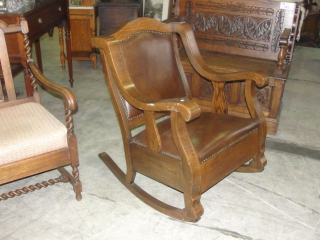 Image 1  EARLY 1900S QUARTERSAWN MISSION OAK ROCKING CHAIR WITH BROWN LEATHER UPHOLSTERY & EARLY 1900S QUARTERSAWN MISSION OAK ROCKING CHAIR WITH BROWN LEATHER ...