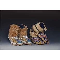 Two Pair of Northern Plains Moccasins