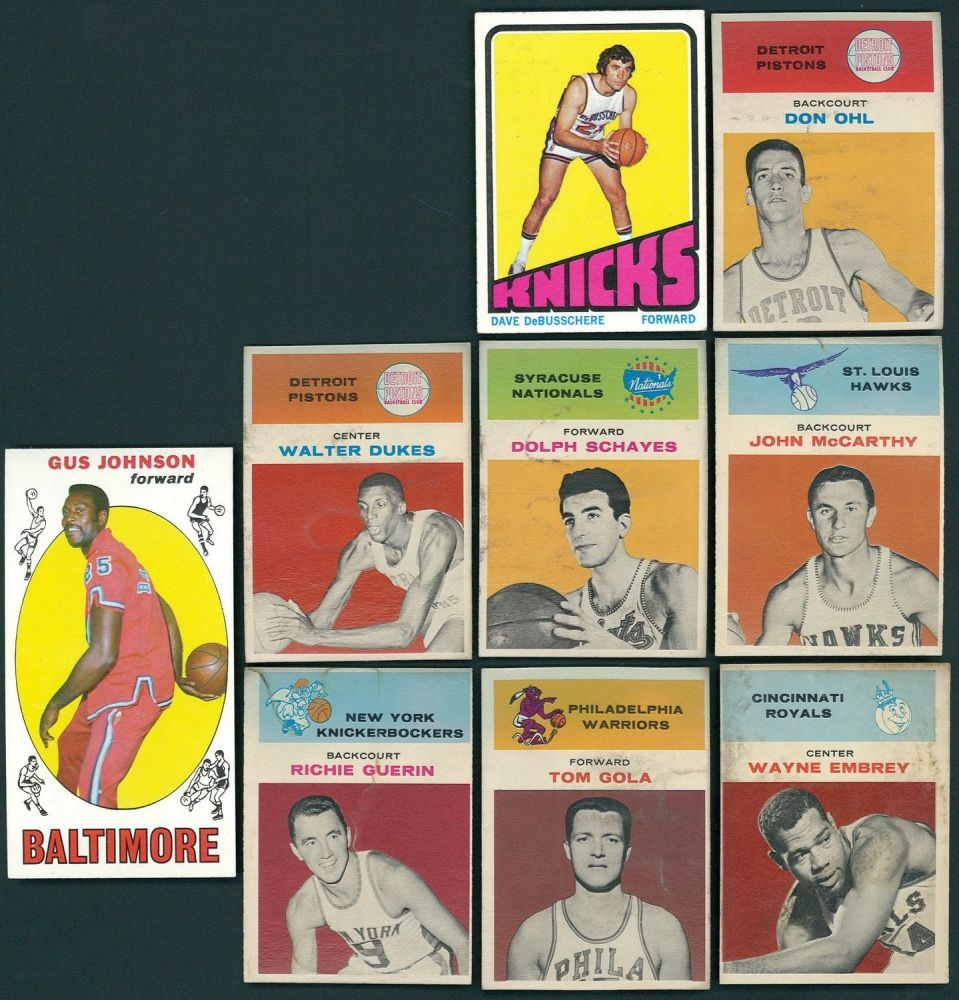 Lot of 9 1960 s Fleer & Topps Basketball Cards with Gus Johnson
