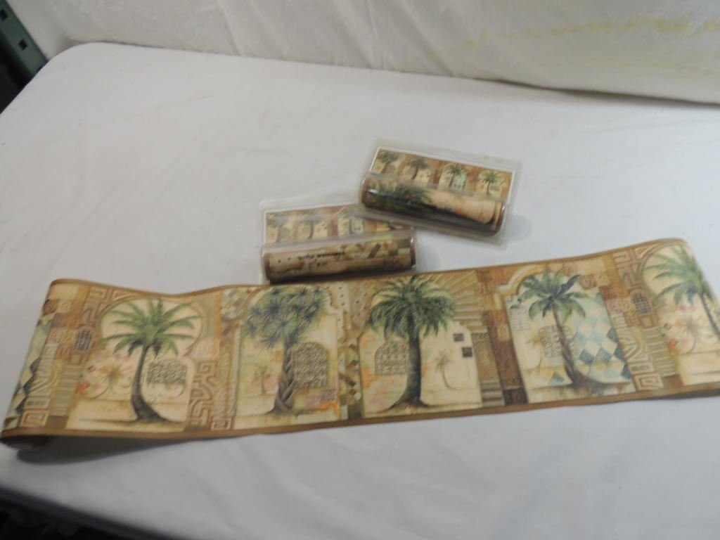 Lot 3 wallpaper boarder home trends palm trees for Home trends wallpaper