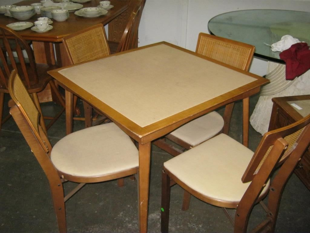 Wooden card table chairs