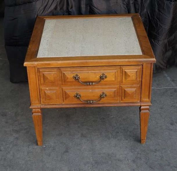 Antique Inlaid Marble Table : Vintage marble top inlay table