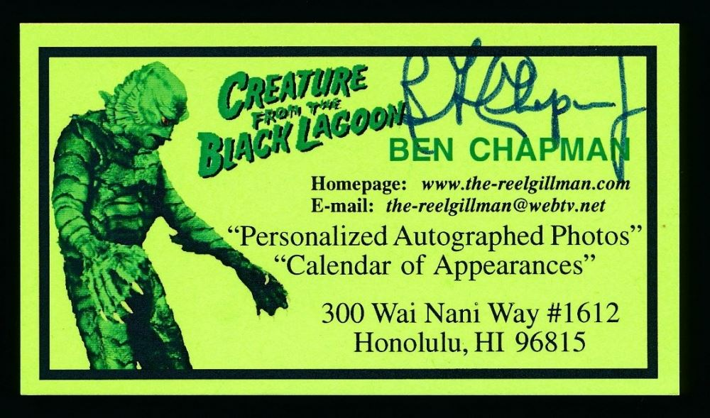 Ben chapman signed 2x4 creature from the black lagoon business image 1 ben chapman signed 2x4 creature from the black lagoon business card reheart Image collections