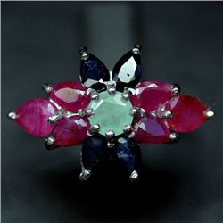 STERLING SILVER EMERALD, RUBY & SAPPHIRE RING SIZE 6.5