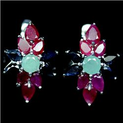 PAIR OF STERLING SILVER EMERALD, RUBY & SAPPHIRE EARRINGS