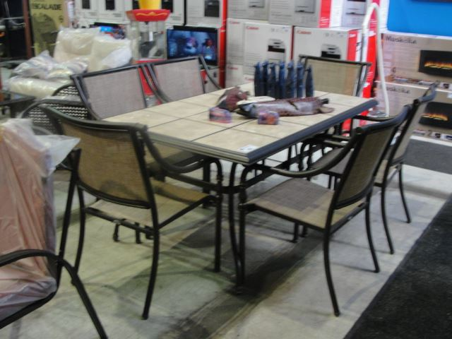 Amazing Image 1 : 7PC PATIO TABLE SET; CERAMIC TILE TOP TABLE WITH 6 CHAIRS
