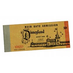 First Disneyland ticket book with admission ticket.