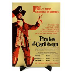 Pirates of the Caribbean grand opening ticket booth poster.