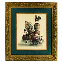 Signed Marc Davis Pirates of the Caribbean concept painting.