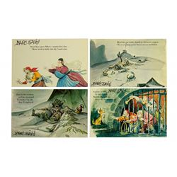 Marc Davis signed Pirates of the Caribbean complete postcard set.