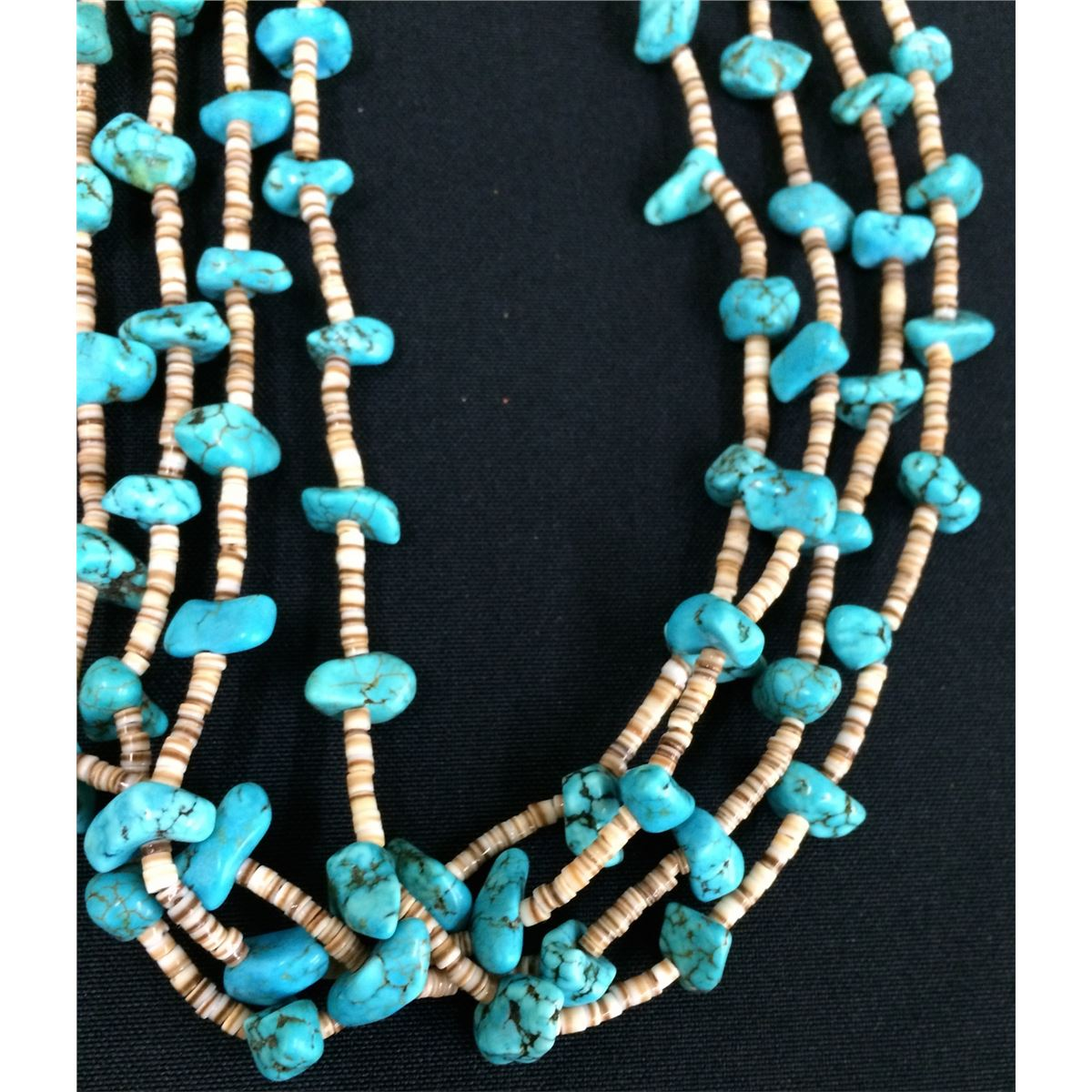 artist american native with strands necklace santo fox lita product by domingo turquoise atencio indian pueblo jewelry heishi photo