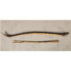 Shoshone Wood Bow With 4 Stone-tipped Arrows