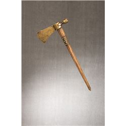 "Pipe Tomahawk, 7 ¼"" x 3"" brass haft with 17"" tacked handle."