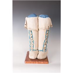 "Kiowa High-top Moccasins, 8 ½"" long, 15"" tall"