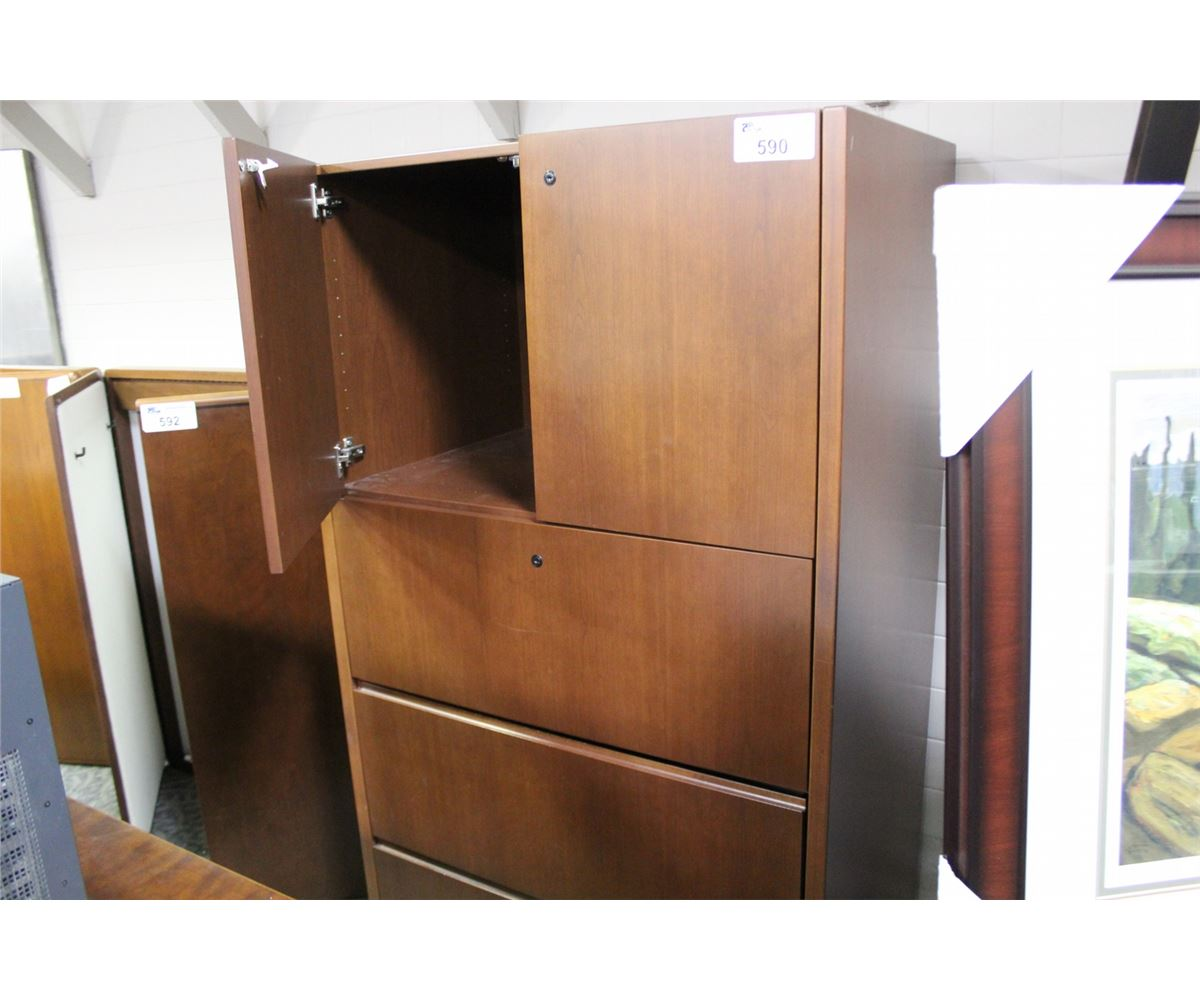 CHERRY 3 DRAWER LATERAL FILE CABINET DOUBLE DOOR BOOKCASE COMBO
