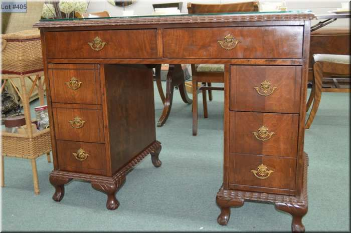 Vintage Small Double Pedestal Desk With Ball And Claw Feet
