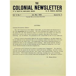 Rare Original Issue of the Colonial Newsletter No. 6