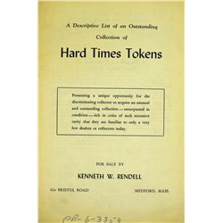 Rendell's List of Hard Times Tokens