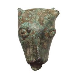A bronze Gallic bull's head