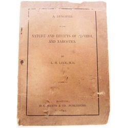 "1895 ""NATURE AND EFFECTS OF ALCOHOL AND NARCOTICS"" BOOKLET"