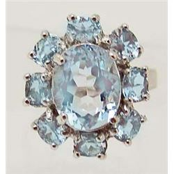 WHITE GOLD OVER STERLING SILVER BLUE TOPAZ RING - SZ 5.5