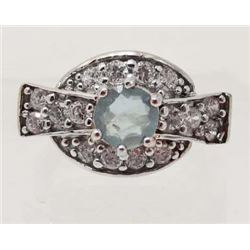 WHITE GOLD OVER STERLING SILVER AQUAMARINE RING  - SZ 8