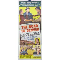 """1955 """"THE ROAD TO DENVER"""" INSERT MOVIE POSTER"""