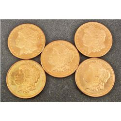 LOT OF 5 2011 ONE OZ. COPPER ROUND COIN