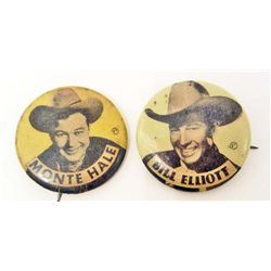 LOT OF 2 C. 1950'S CELLULOID PINBACK BUTTONS - COWBOYS