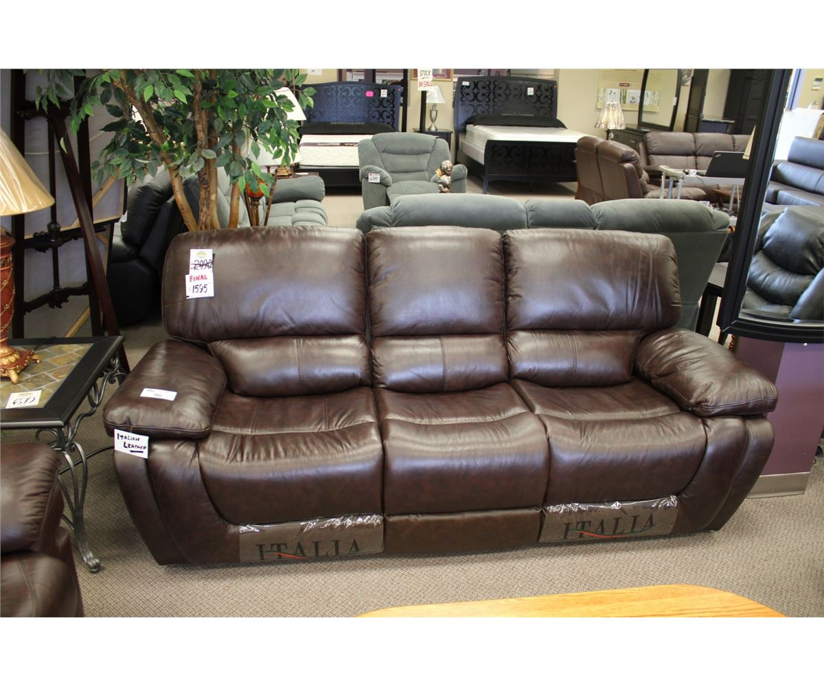 Leather Sofa Price: 2PCS BROWN ITALIAN LEATHER RECLINING SOFA & ARM CHAIR