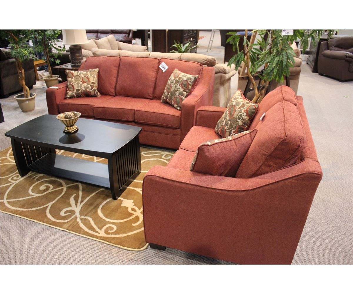 Red Canadian Made Sofa And Loveseat
