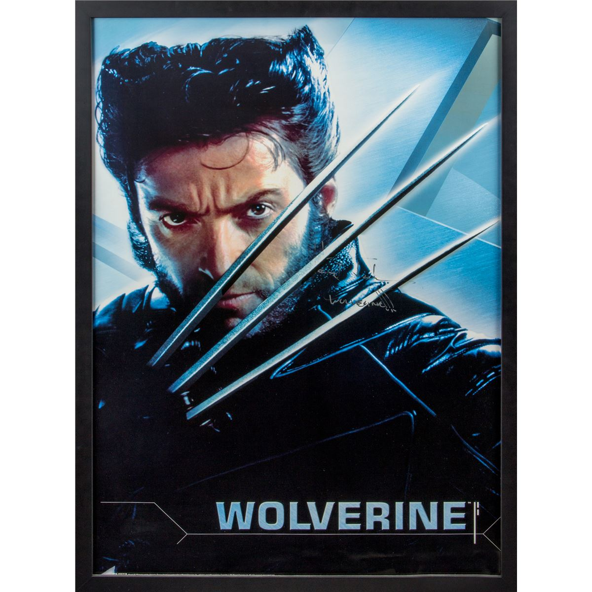 x men 2 original wolverine character poster signed by hugh jackman. Black Bedroom Furniture Sets. Home Design Ideas