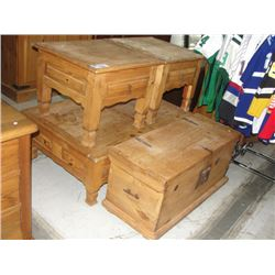 4pc solid pine furniture set coffee table with 2 end for Pine coffee table with storage